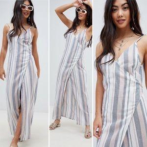 ASOS Woven Stripe V Wrap Maxi Beach Dress Sz 4
